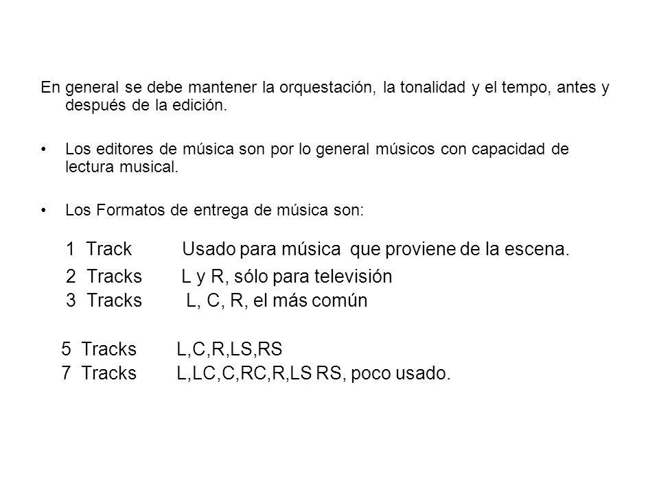1 Track Usado para música que proviene de la escena.