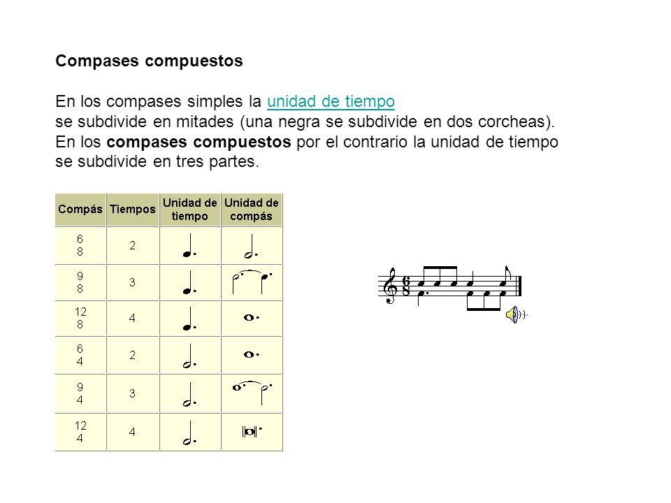 Compases compuestos En los compases simples la unidad de tiempo. se subdivide en mitades (una negra se subdivide en dos corcheas).