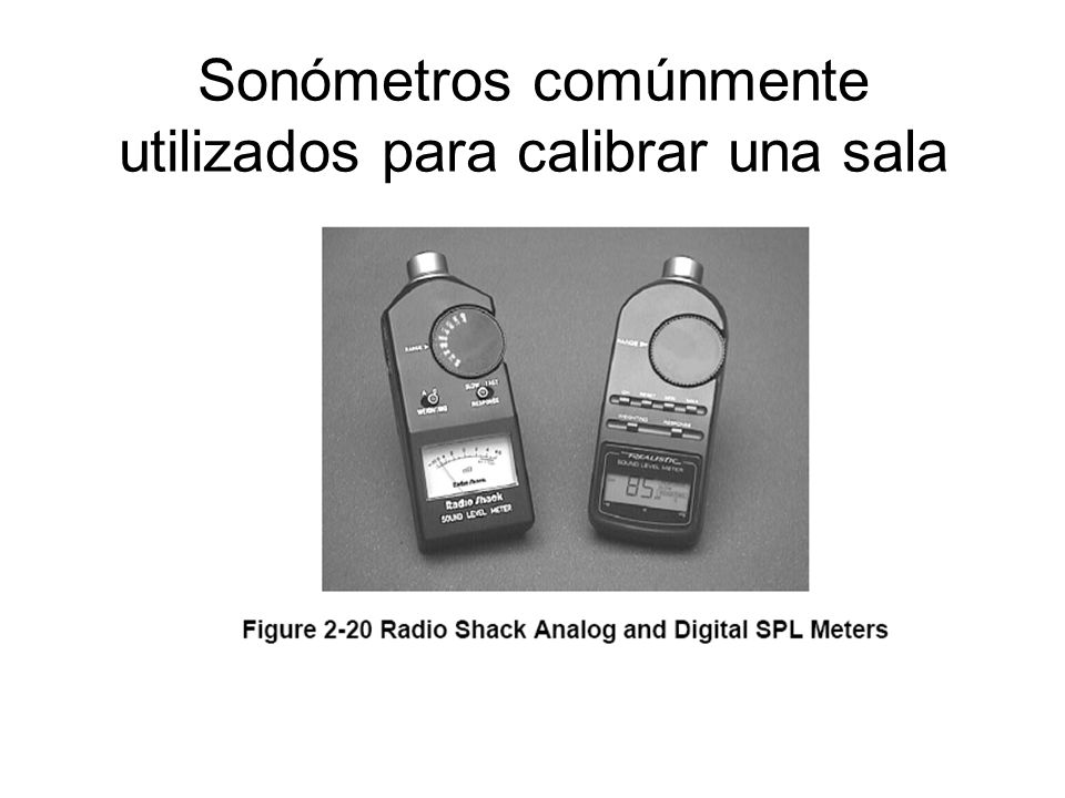 Sonómetros comúnmente utilizados para calibrar una sala