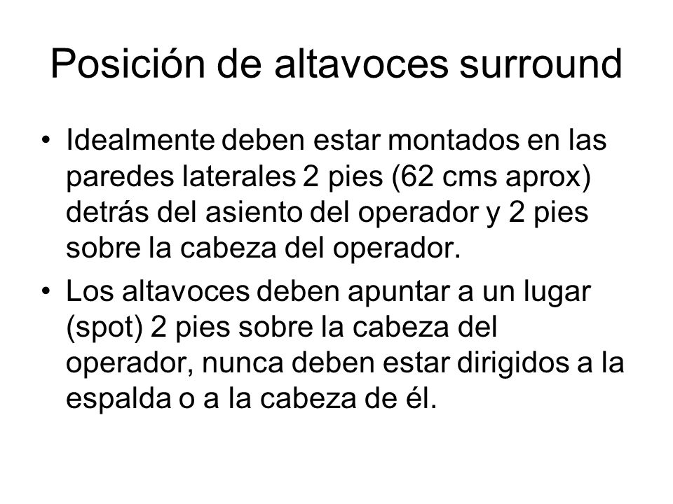 Posición de altavoces surround