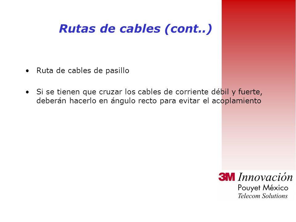 Rutas de cables (cont..) Ruta de cables de pasillo