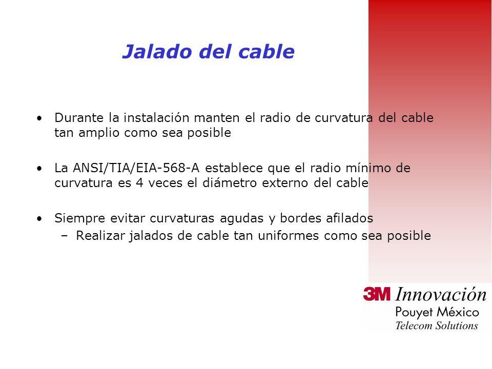 Jalado del cable Durante la instalación manten el radio de curvatura del cable tan amplio como sea posible.