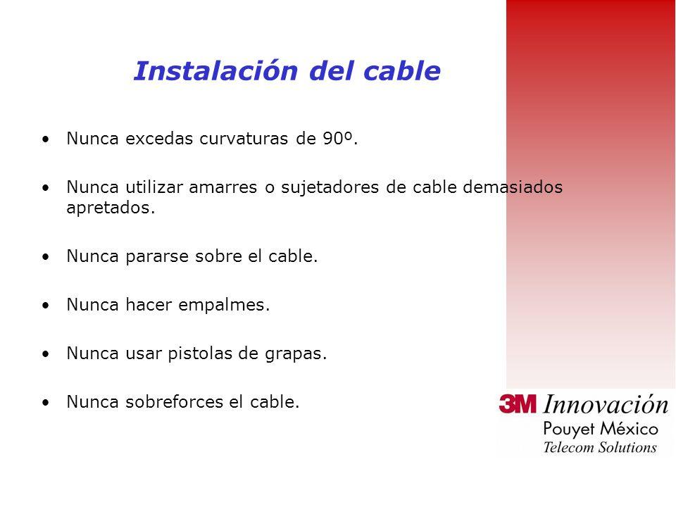Instalación del cable Nunca excedas curvaturas de 90º.