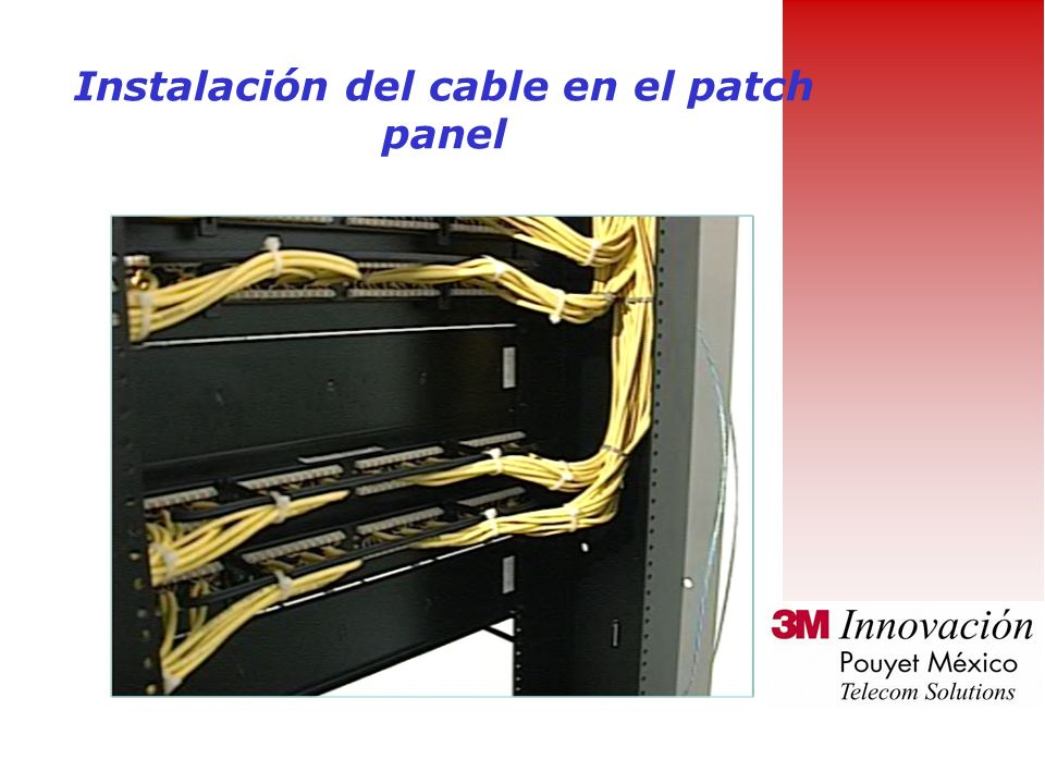 Instalación del cable en el patch panel