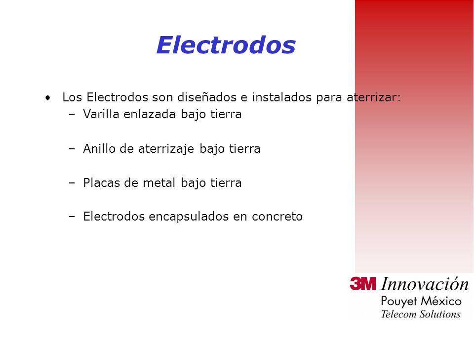 Electrodos Los Electrodos son diseñados e instalados para aterrizar: