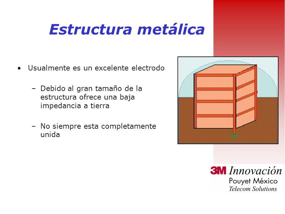 Estructura metálica Usualmente es un excelente electrodo