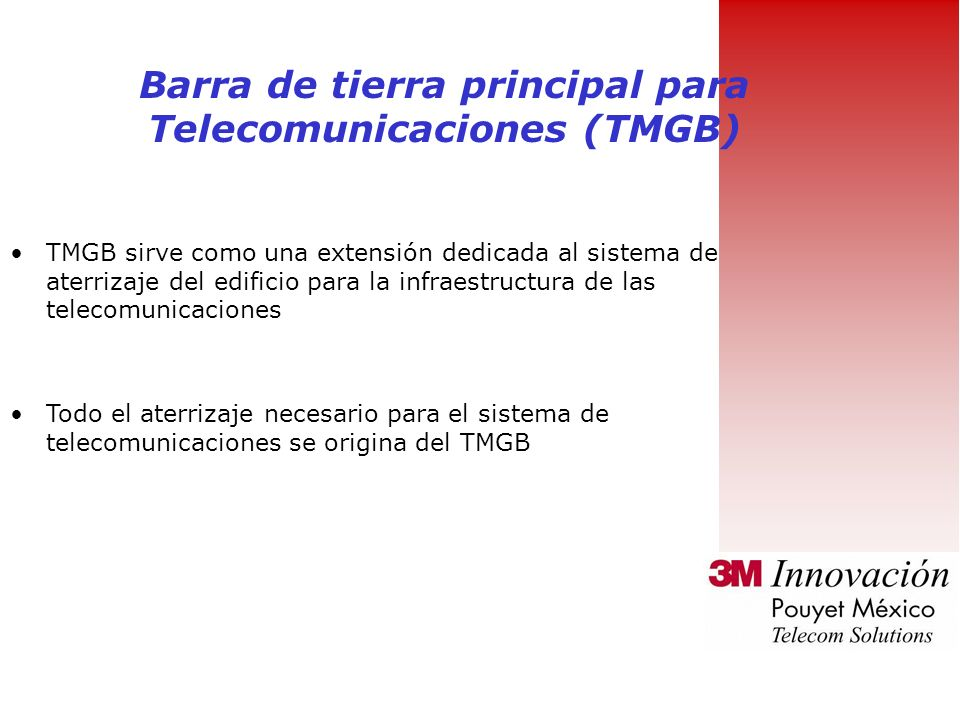 Barra de tierra principal para Telecomunicaciones (TMGB)