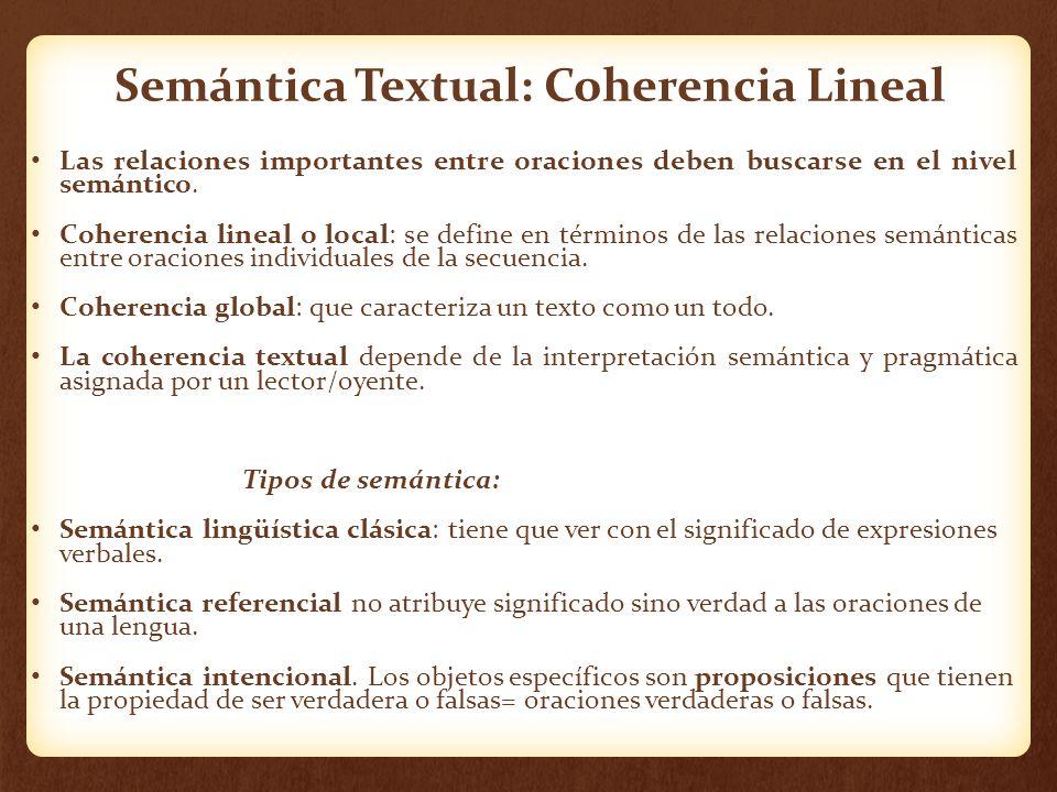 Semántica Textual: Coherencia Lineal