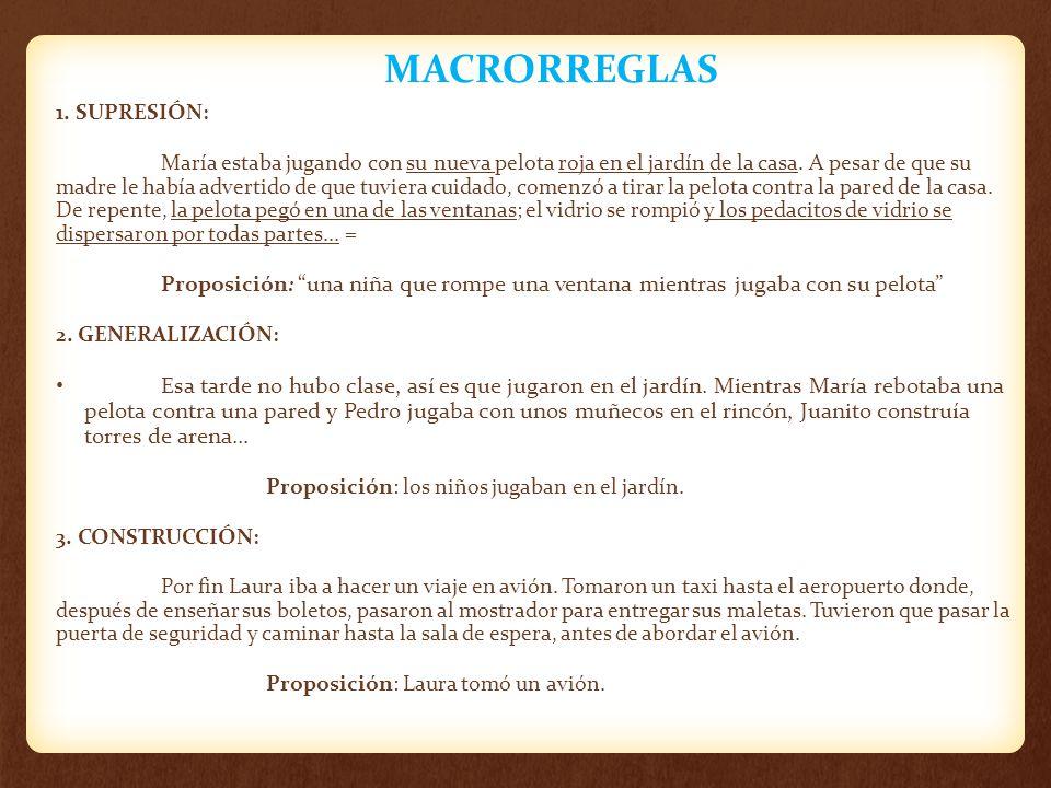MACRORREGLAS 1. SUPRESIÓN: