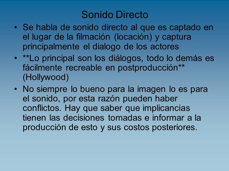 Sonido DirectoSe habla de sonido directo al que es captado en el lugar de la filmación (locación) y captura principalmente el dialogo de los actores.