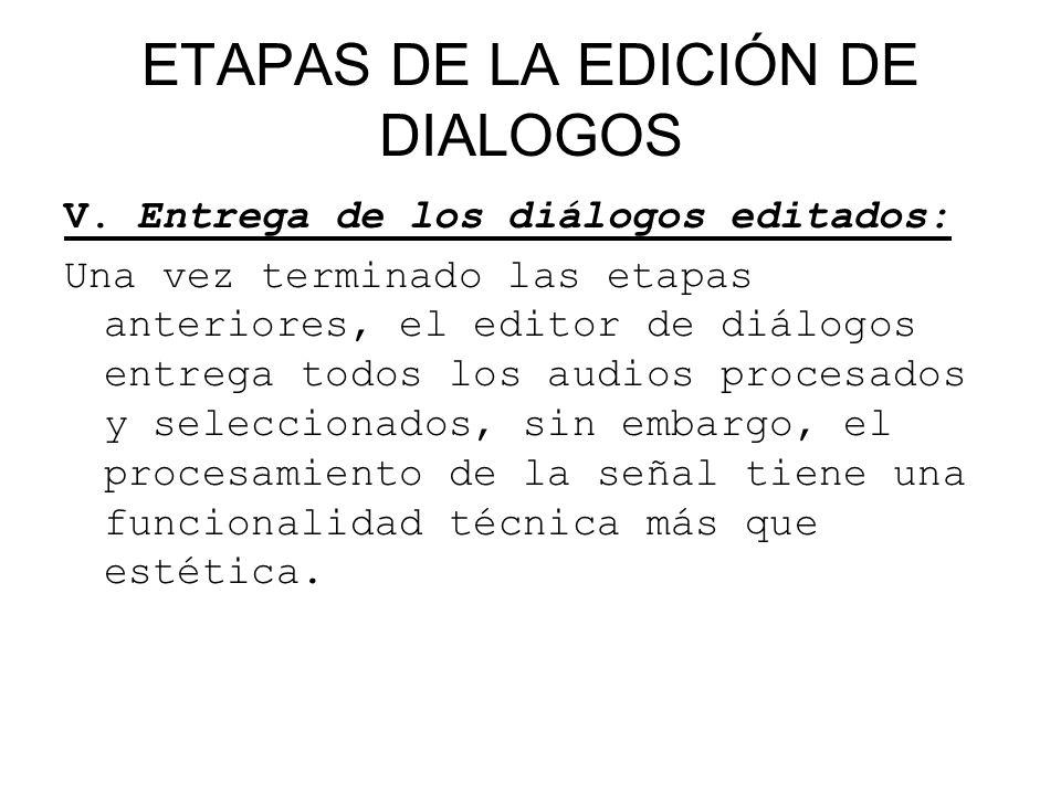 ETAPAS DE LA EDICIÓN DE DIALOGOS