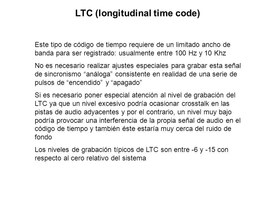 LTC (longitudinal time code)