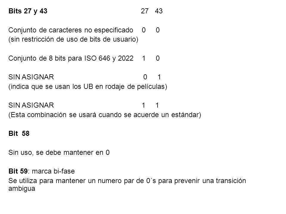 Bits 27 y 43 27 43 Conjunto de caracteres no especificado 0 0.