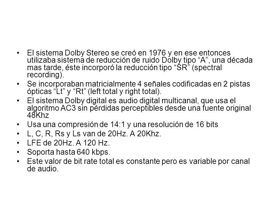 El sistema Dolby Stereo se creó en 1976 y en ese entonces utilizaba sistema de reducción de ruido Dolby tipo A , una década mas tarde, éste incorporó la reducción tipo SR (spectral recording).