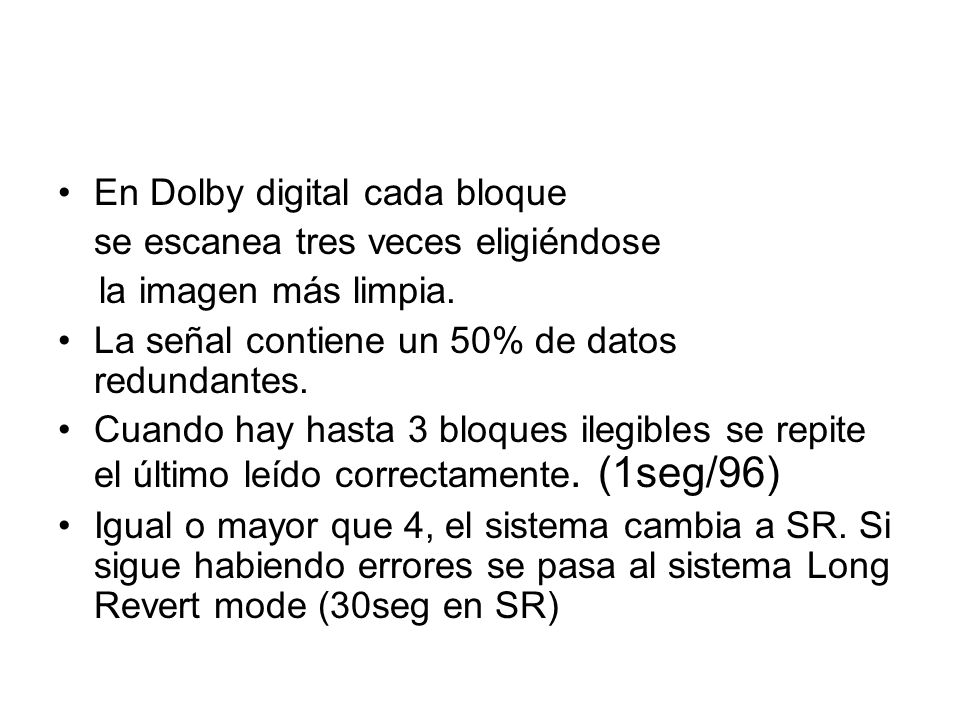 En Dolby digital cada bloque