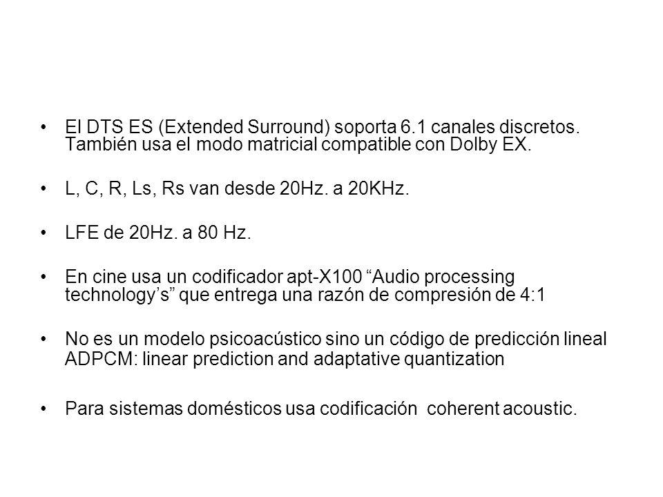 El DTS ES (Extended Surround) soporta 6. 1 canales discretos