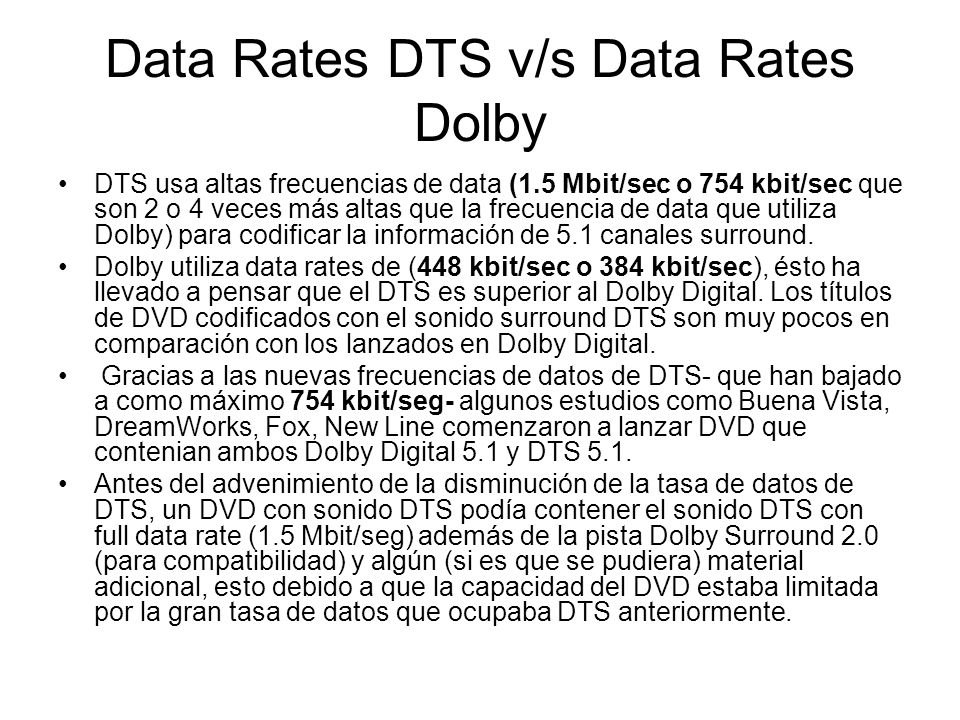 Data Rates DTS v/s Data Rates Dolby