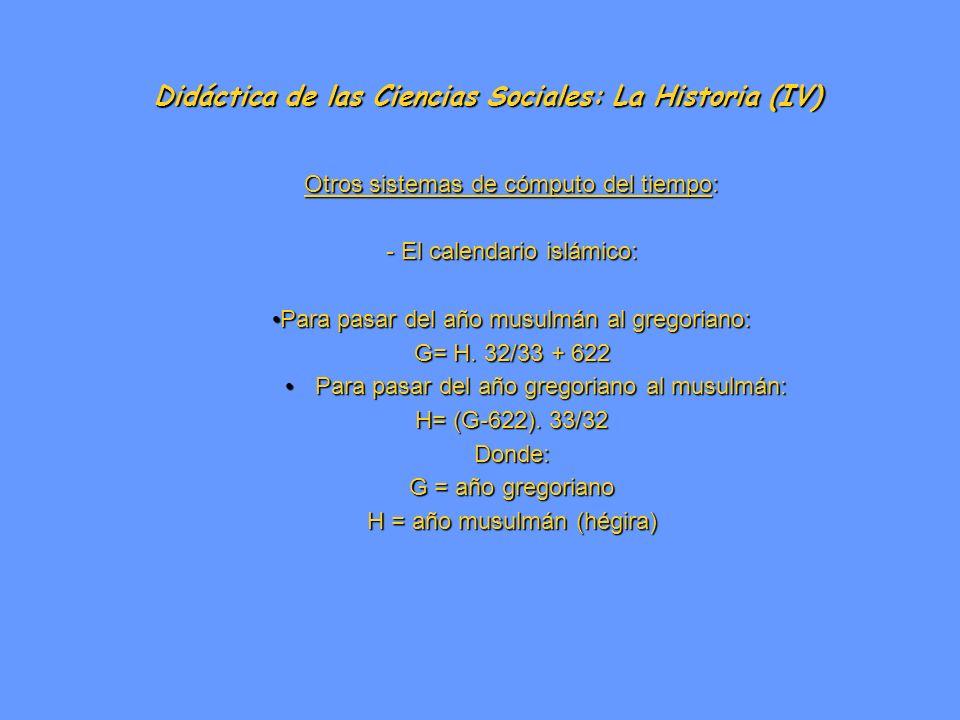 Didáctica de las Ciencias Sociales: La Historia (IV)