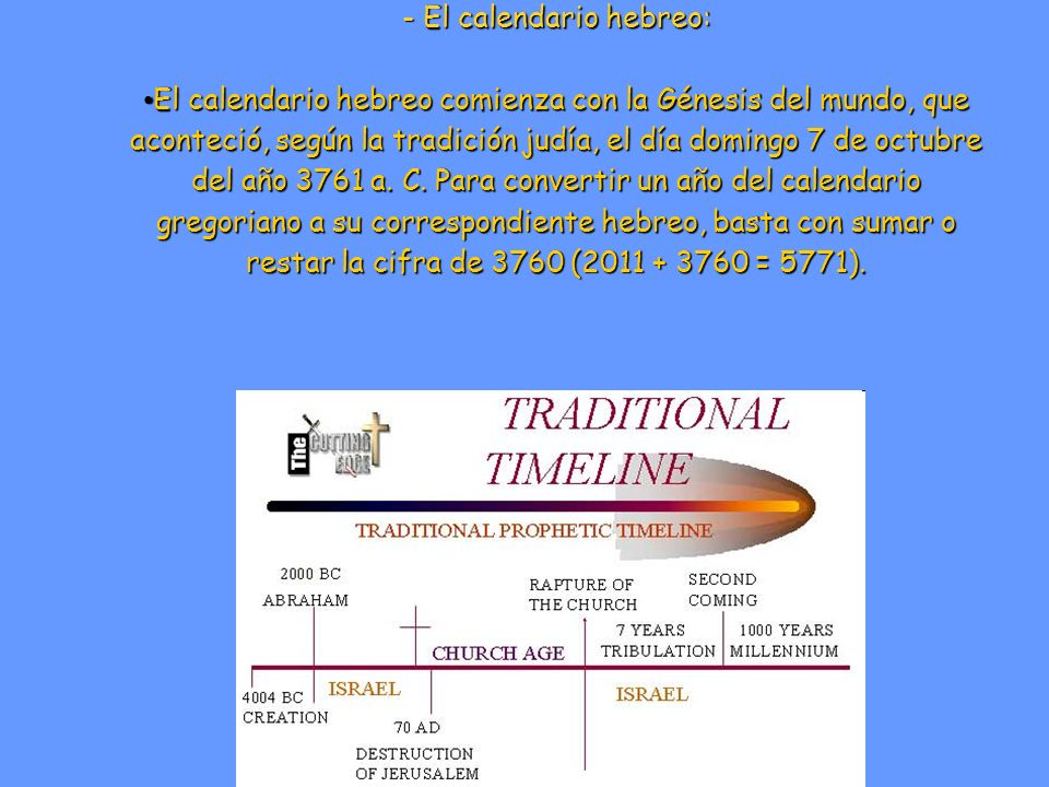 Otros sistemas de cómputo del tiempo: - El calendario hebreo: