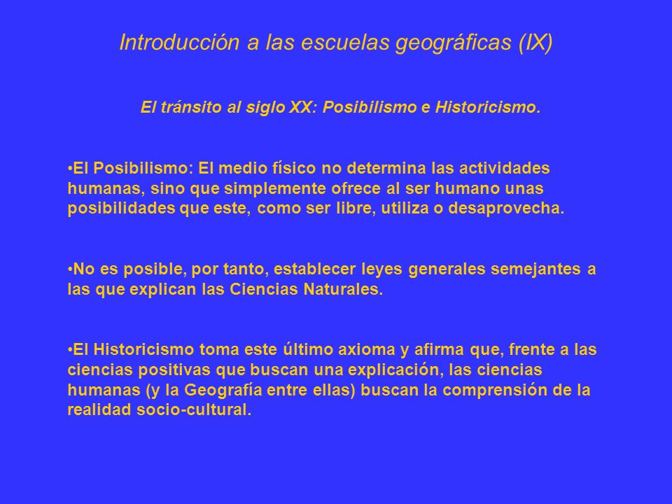 Introducción a las escuelas geográficas (IX)