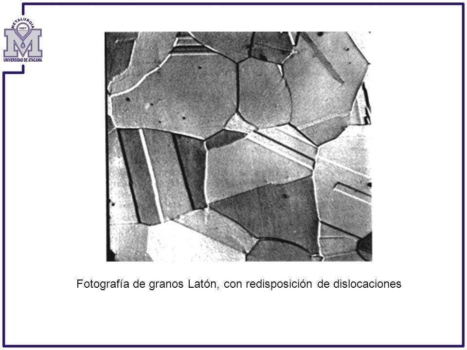 Fotografía de granos Latón, con redisposición de dislocaciones
