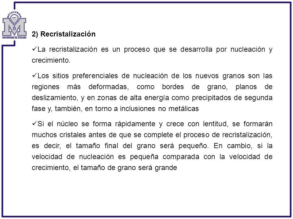 2) Recristalización La recristalización es un proceso que se desarrolla por nucleación y crecimiento.