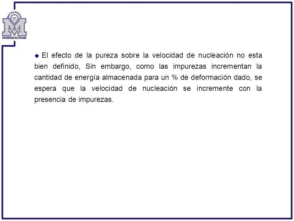 El efecto de la pureza sobre la velocidad de nucleación no esta bien definido, Sin embargo, como las impurezas incrementan la cantidad de energía almacenada para un % de deformación dado, se espera que la velocidad de nucleación se incremente con la presencia de impurezas.