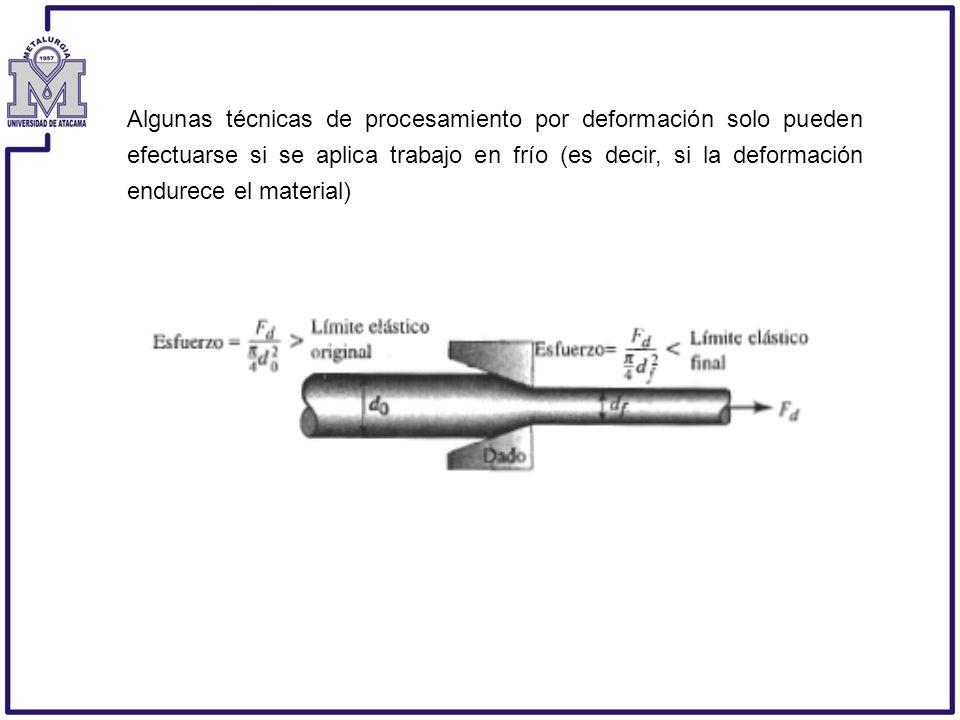 Algunas técnicas de procesamiento por deformación solo pueden efectuarse si se aplica trabajo en frío (es decir, si la deformación endurece el material)