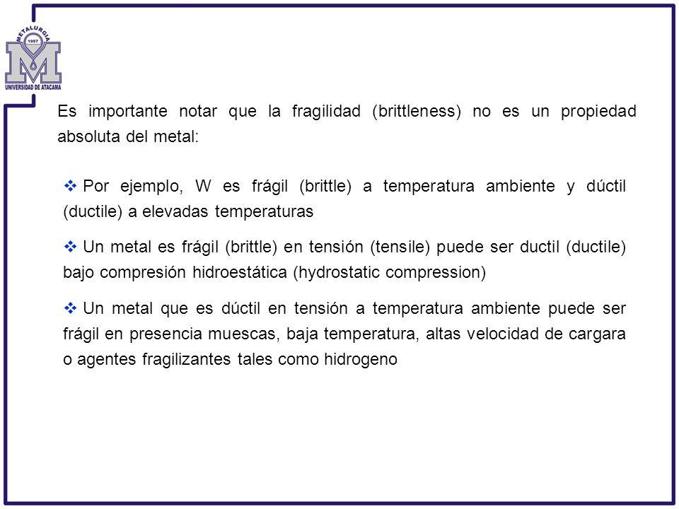 Es importante notar que la fragilidad (brittleness) no es un propiedad absoluta del metal: