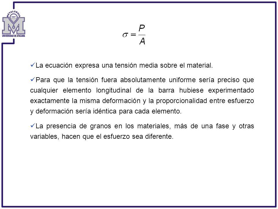 La ecuación expresa una tensión media sobre el material.