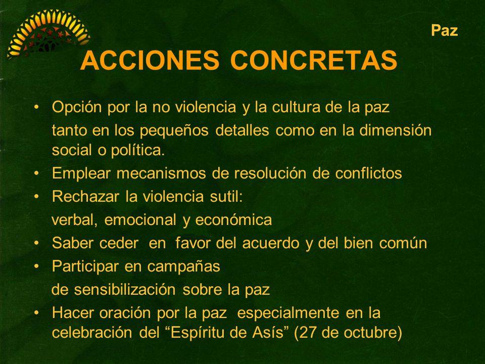 ACCIONES CONCRETAS Paz