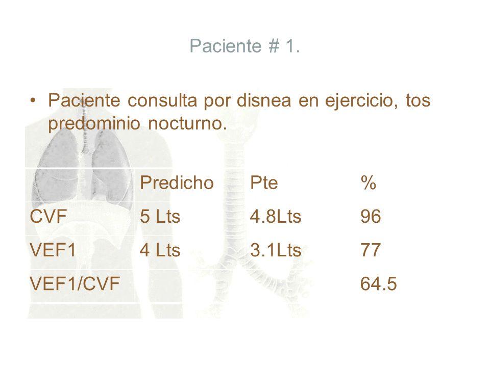 Paciente # 1. Paciente consulta por disnea en ejercicio, tos predominio nocturno. Predicho. Pte. %