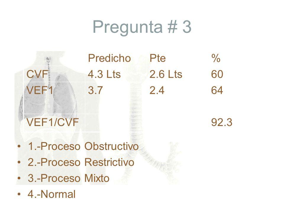 Pregunta # 3 Predicho Pte % CVF 4.3 Lts 2.6 Lts 60 VEF1 3.7 2.4 64