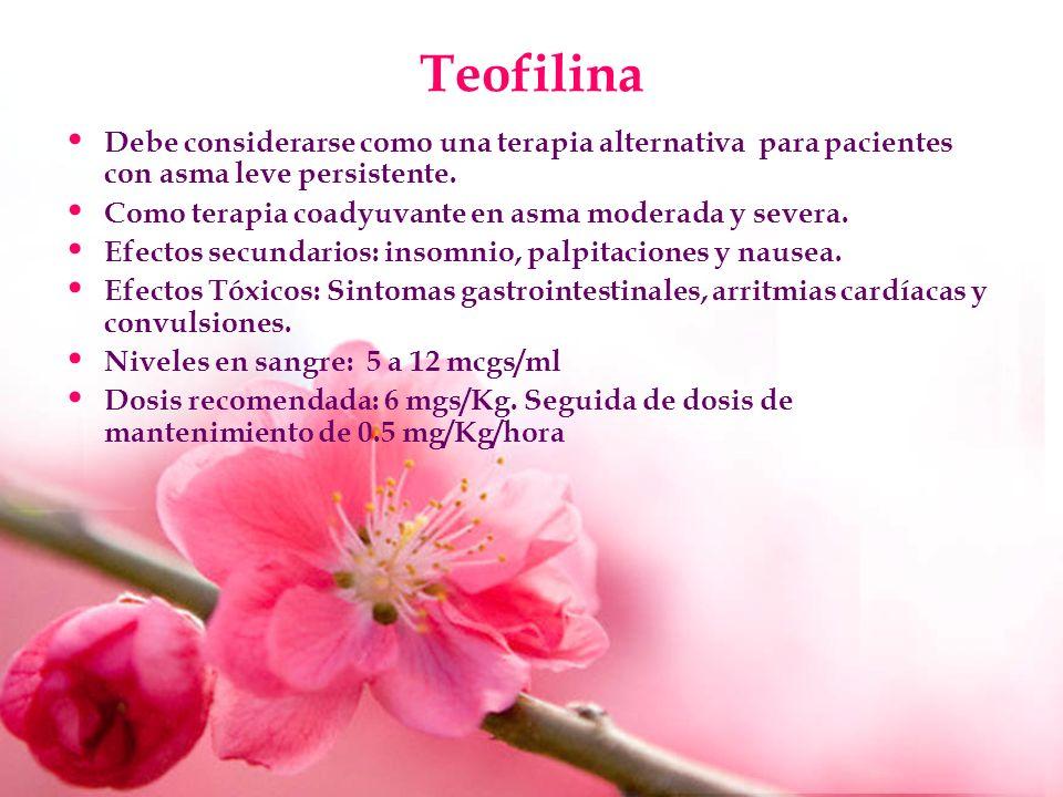 Teofilina Debe considerarse como una terapia alternativa para pacientes con asma leve persistente.