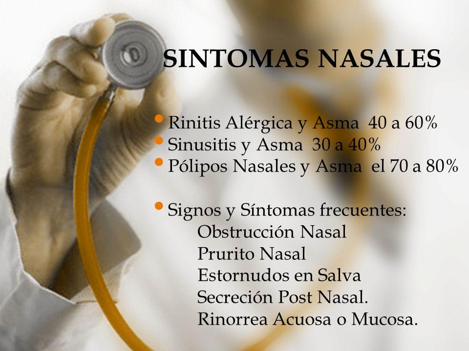 SINTOMAS NASALES Rinitis Alérgica y Asma 40 a 60%