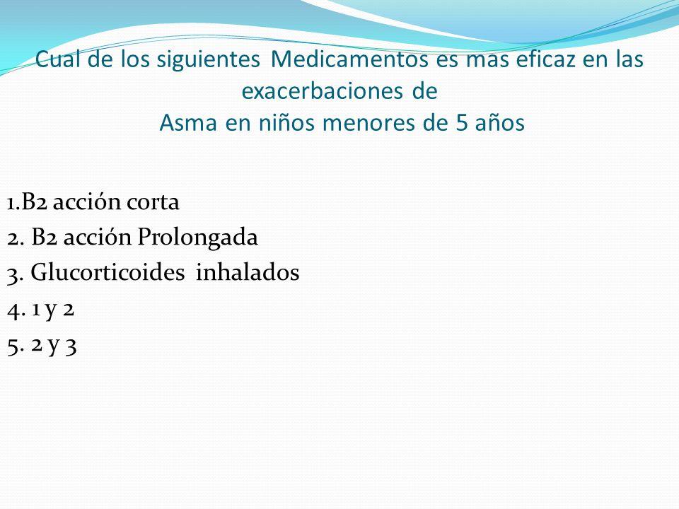 Cual de los siguientes Medicamentos es mas eficaz en las exacerbaciones de Asma en niños menores de 5 años