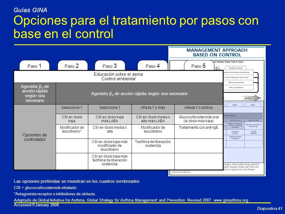Opciones para el tratamiento por pasos con base en el control