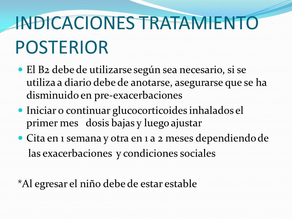 INDICACIONES TRATAMIENTO POSTERIOR