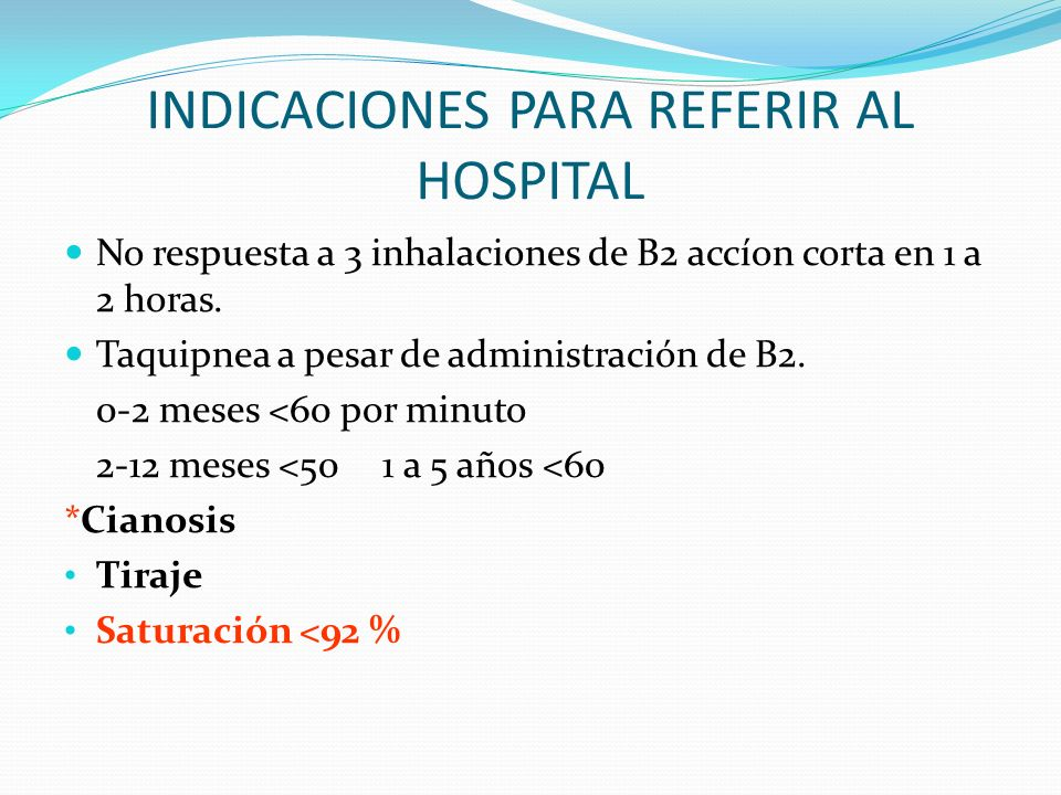 INDICACIONES PARA REFERIR AL HOSPITAL
