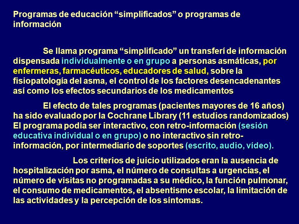 Programas de educación simplificados o programas de información