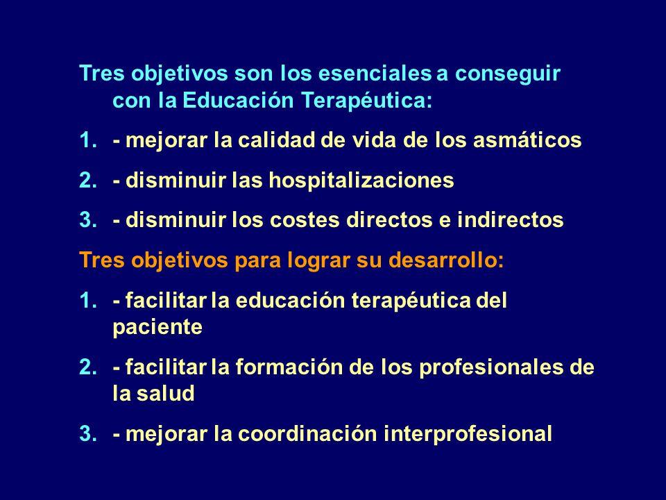 Tres objetivos son los esenciales a conseguir con la Educación Terapéutica: