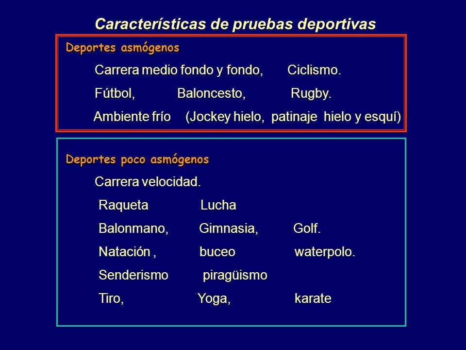 Características de pruebas deportivas