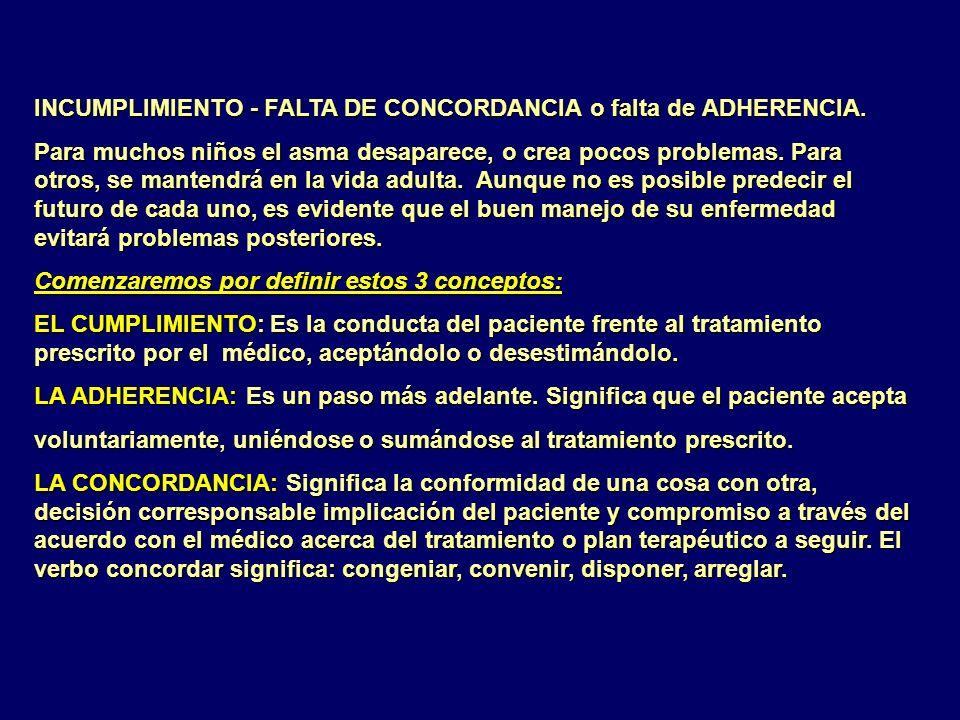 INCUMPLIMIENTO - FALTA DE CONCORDANCIA o falta de ADHERENCIA.