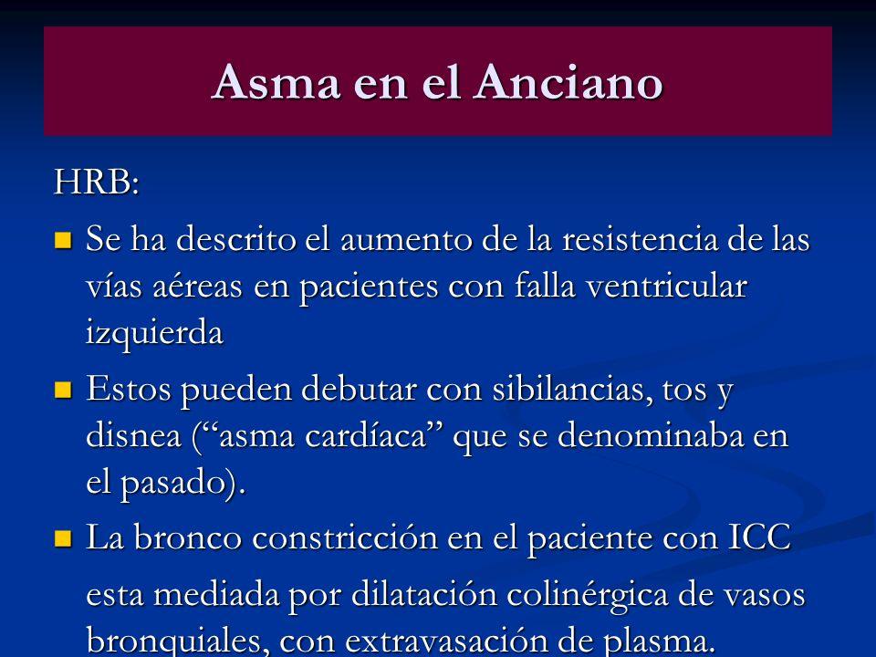 Asma en el AncianoHRB: Se ha descrito el aumento de la resistencia de las vías aéreas en pacientes con falla ventricular izquierda.