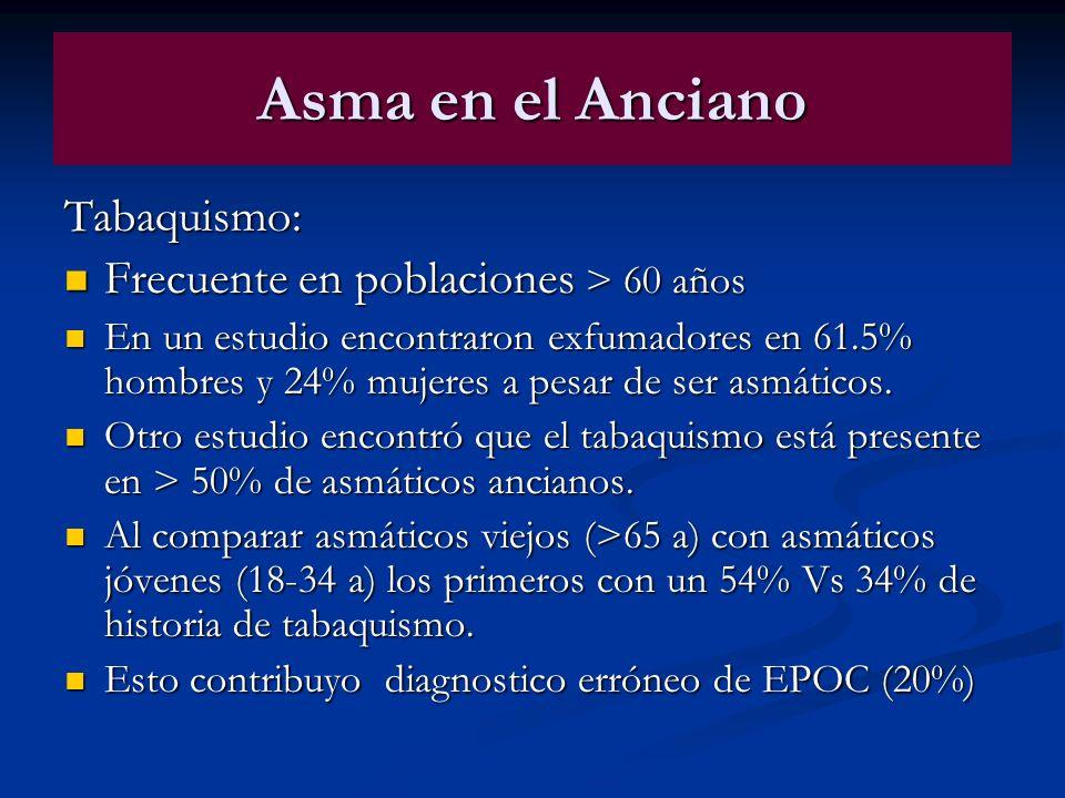 Asma en el Anciano Tabaquismo: Frecuente en poblaciones > 60 años