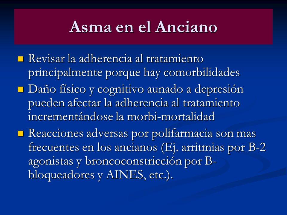 Asma en el AncianoRevisar la adherencia al tratamiento principalmente porque hay comorbilidades.