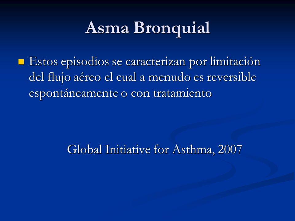 Asma Bronquial Estos episodios se caracterizan por limitación del flujo aéreo el cual a menudo es reversible espontáneamente o con tratamiento.