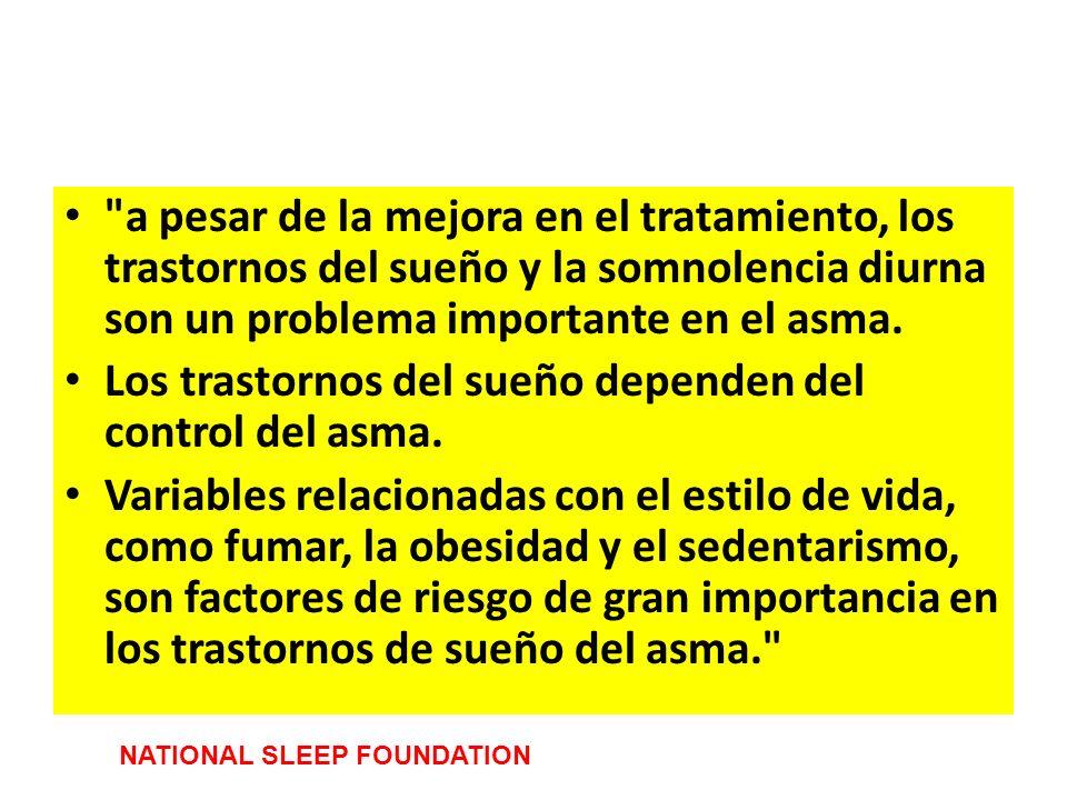 Los trastornos del sueño dependen del control del asma.