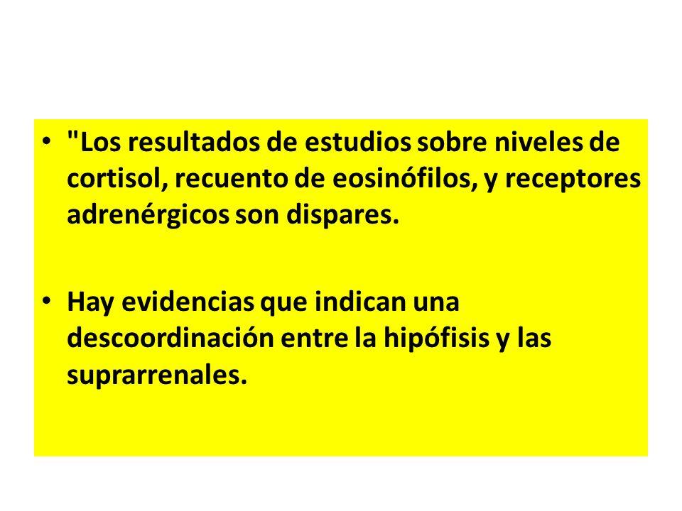 Los resultados de estudios sobre niveles de cortisol, recuento de eosinófilos, y receptores adrenérgicos son dispares.