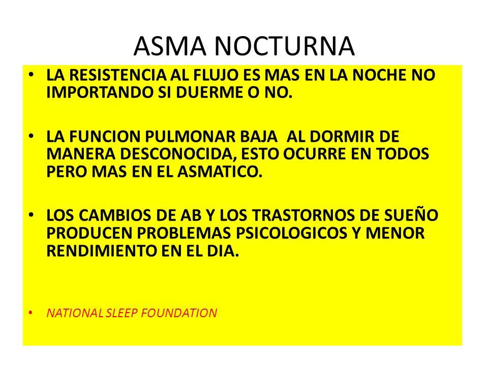 ASMA NOCTURNA LA RESISTENCIA AL FLUJO ES MAS EN LA NOCHE NO IMPORTANDO SI DUERME O NO.